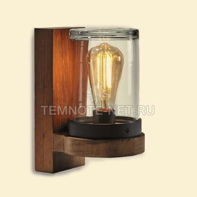 CLOCHE WALL LAMP TEAK & HANDMADE CLEAR GLASS